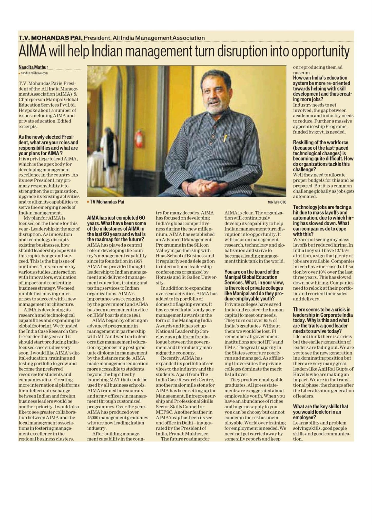 TV Mohandas Pai in todays' HT
